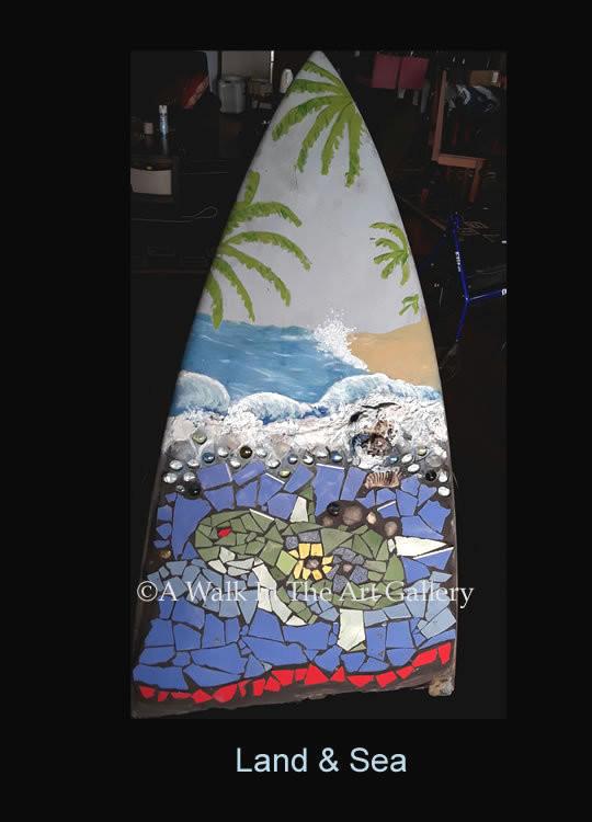 Land & Sea Ceramic Tile & Painted 1/3 Surfboard