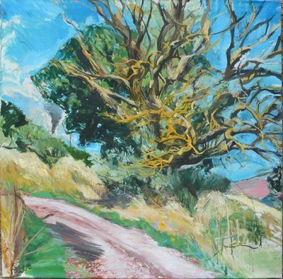 White Road and the Dry Tree, oil on canvas 91x91cm 36