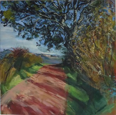Red Road and Tree at Mezzano, oil on canvas 91x91cm 36