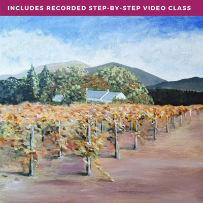 Vineyards of Summer by Kim Mobey including recorded step-by-step video class