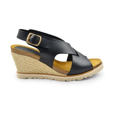 Lea high wedge sandal black Amust