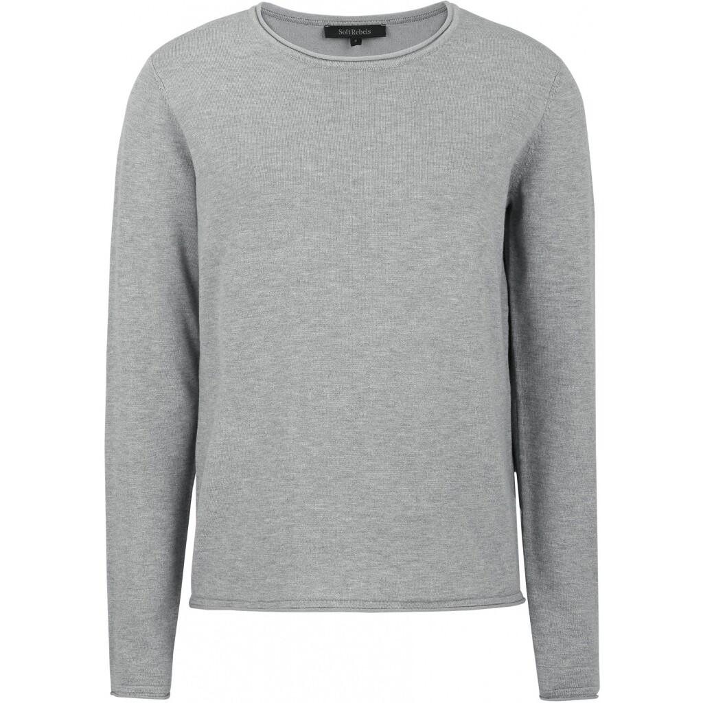 SRMarla o-neck knit roll Edge light grey Soft rebels
