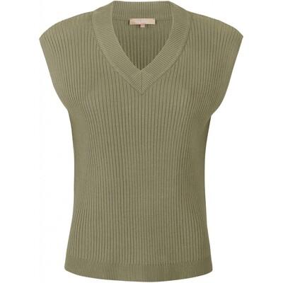 SRJasmin vest v-neck knit covert green  Soft rebels
