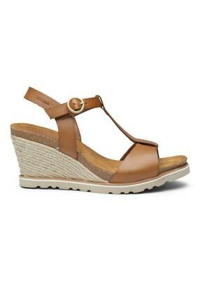 Lina wedge cork sandal light tan leather Amust