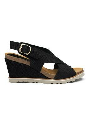 Marlene cork sandal black suede Amust