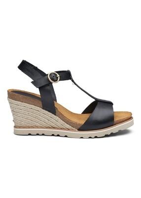 Lina wedge cork sandal black Amust