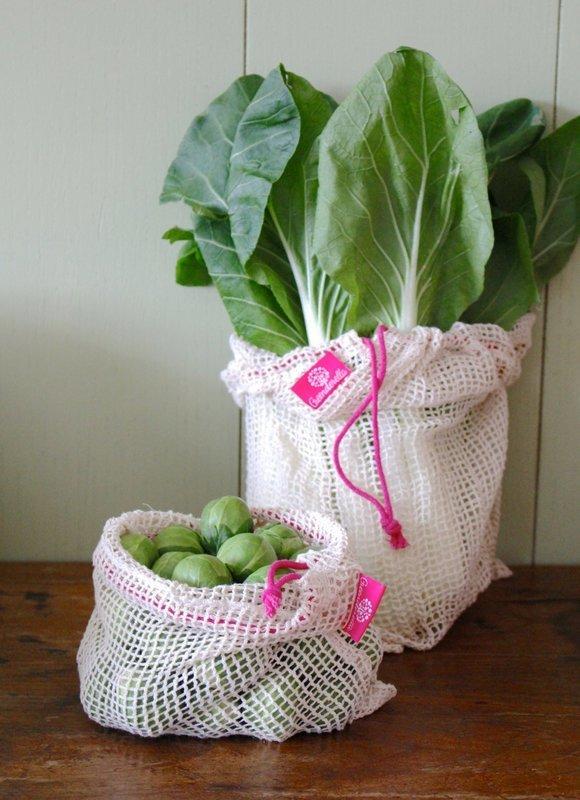 2er Set (L+M) pink, Einkaufsnetze aus Bio-Baumwolle