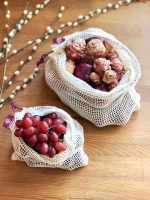2er Set (L+M) berry, Einkaufsnetze aus Bio-Baumwolle