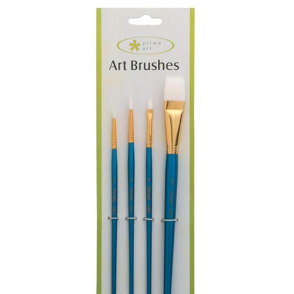 Prime art White Taklon Brush Set - 4pcs