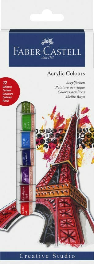 Faber-Castell ACRYLIC STARTER KIT 12ml BOX OF 12