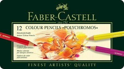 PENCIL POLYCHROMOS TIN OF 12 ASSORTED COLOURS