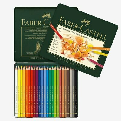 PENCIL POLYCHROMOS TIN OF 24 ASSORTED COLOURS
