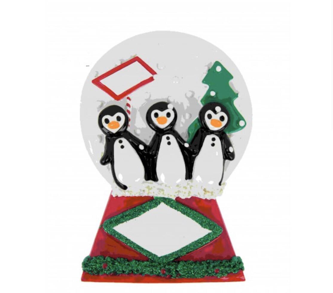Penguin Snow Globe Of 3 Table Topper