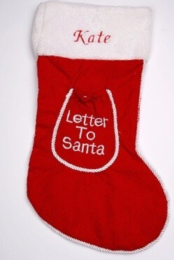 personalised Red Letter To Santa Stocking with rope trim