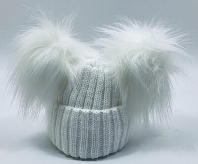 Luxury White Pom Pom Hat