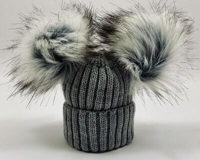 Luxury Grey Pom Pom Hat