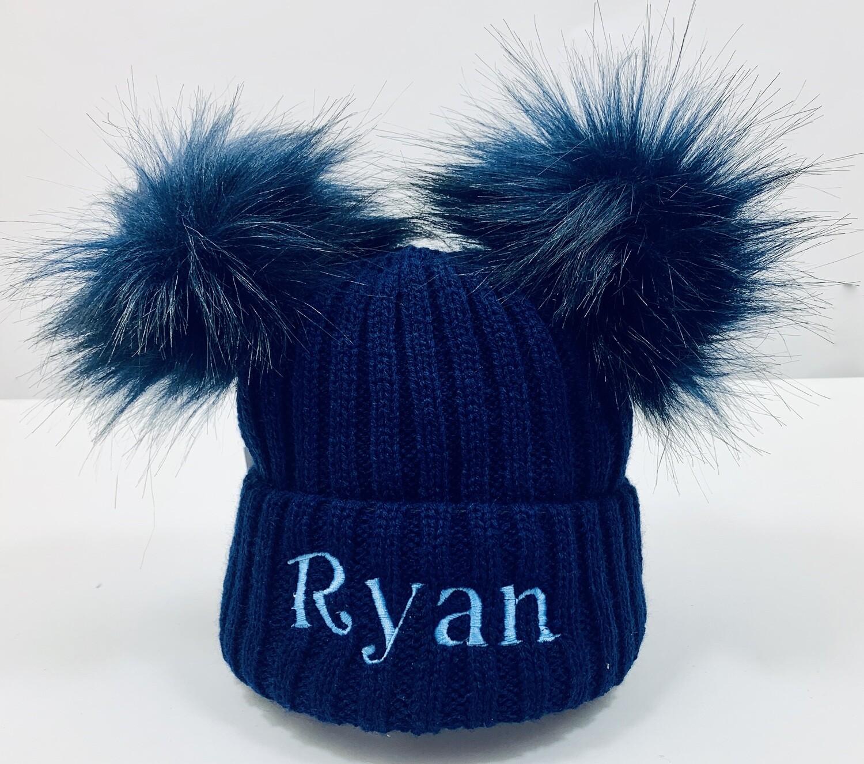 Luxury Navy blue Pom Pom Hat