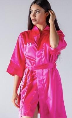 Cerise pink silk robe
