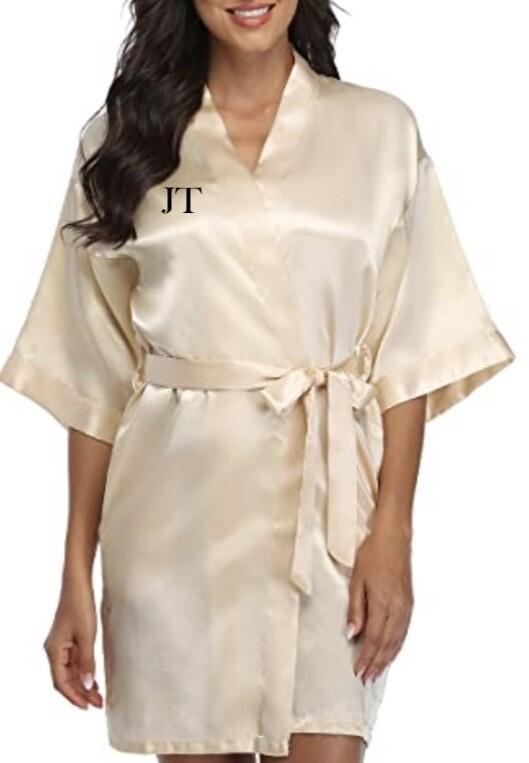 Champagne silk robe