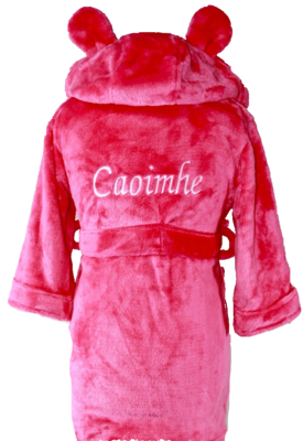 Cerise pink house coat with ears