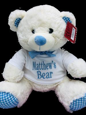 Large Blue gingham teddy bear