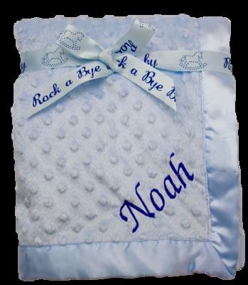 Blue satin edge dimple blanket
