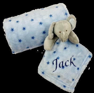 Blue Elephant Blanket & Comforter Set