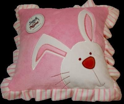 Pink ruffled edge plush bunny pillow
