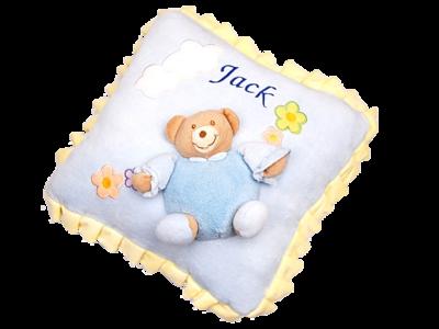Ruffled edge 3D teddy pillow