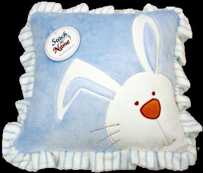 Blue ruffled edge plush bunny pillow