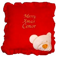 Red teddy pillow
