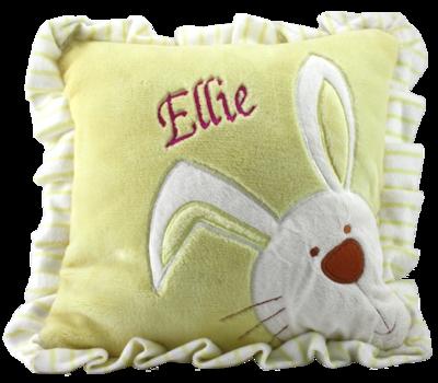 Yellow ruffled edge plush bunny pillow
