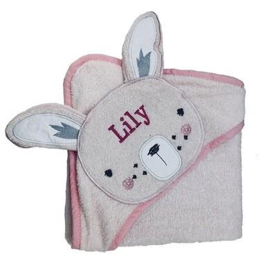 Pink Bunny baby bath Towel