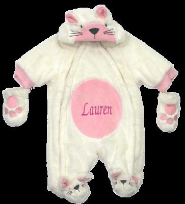 Cream and  pink cat snow suit
