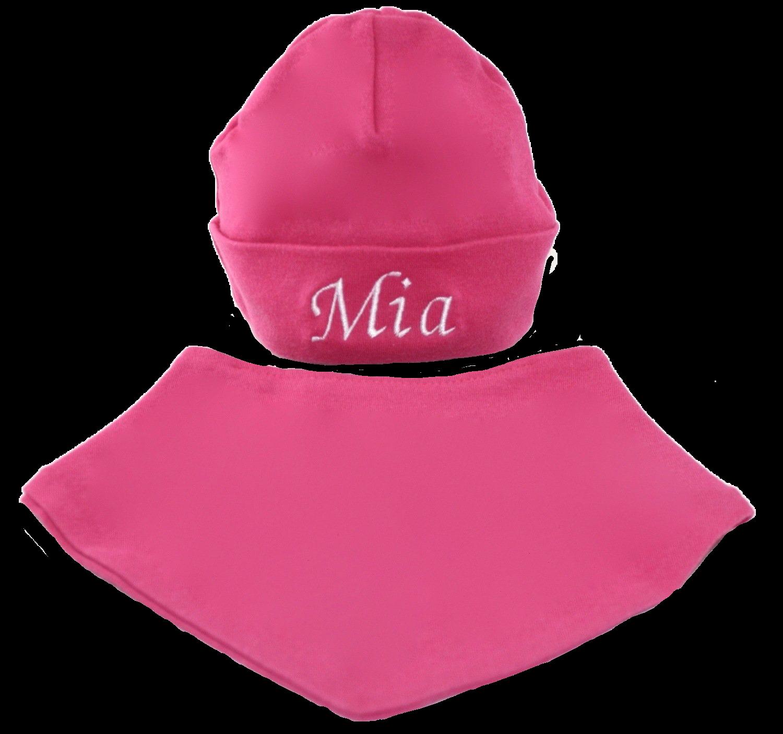 Cerise pink hat and bib set