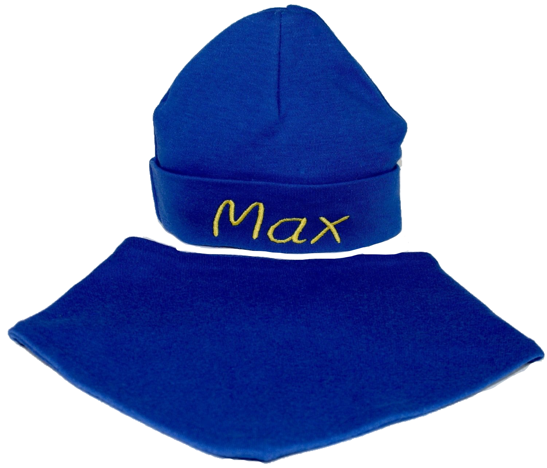 Blue hat and bib set