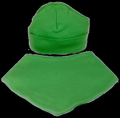 Green hat and bib set