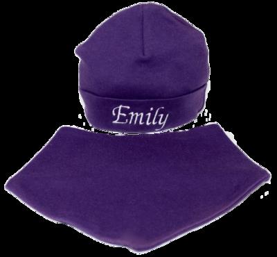 Purple hat and bib set