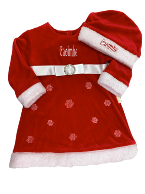 Snow flake baby dress and hat set