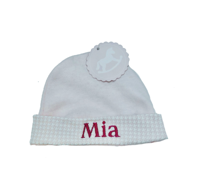 Babies personalised Cotton Hat with gingham trim