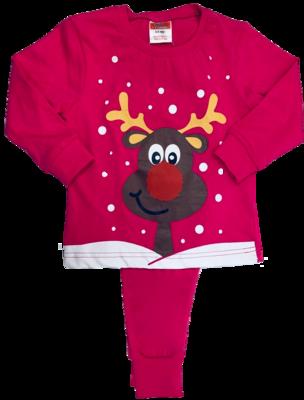 Cerise pink Reindeer pyjamas
