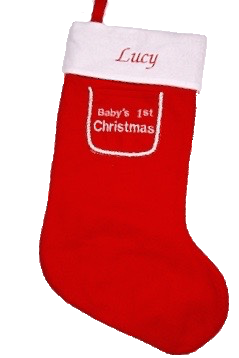 Personalised red baby's first Christmas stocking