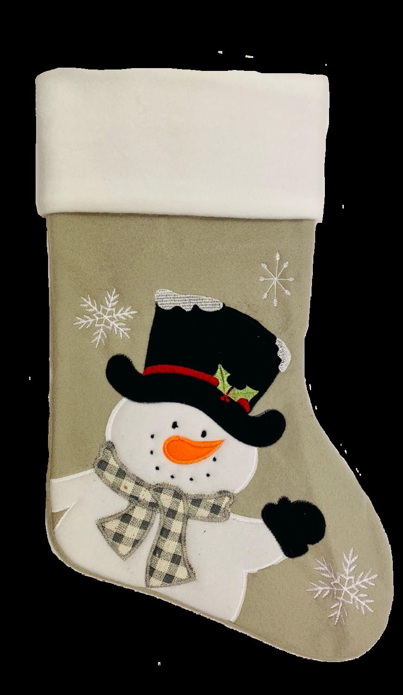 Personalised Grey Snowman Christmas Stocking