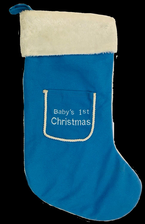 Personalised Blue babies 1st Christmas stocking