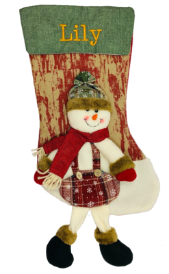 Personalised Snowman 3D Christmas Stocking