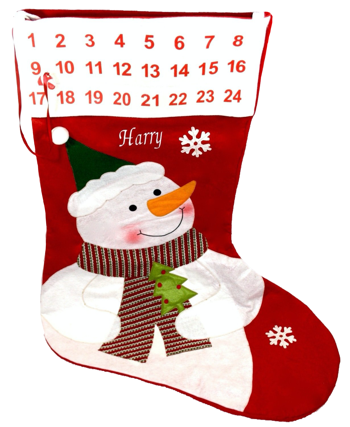 Personalised Extra Large red stocking advent calendar