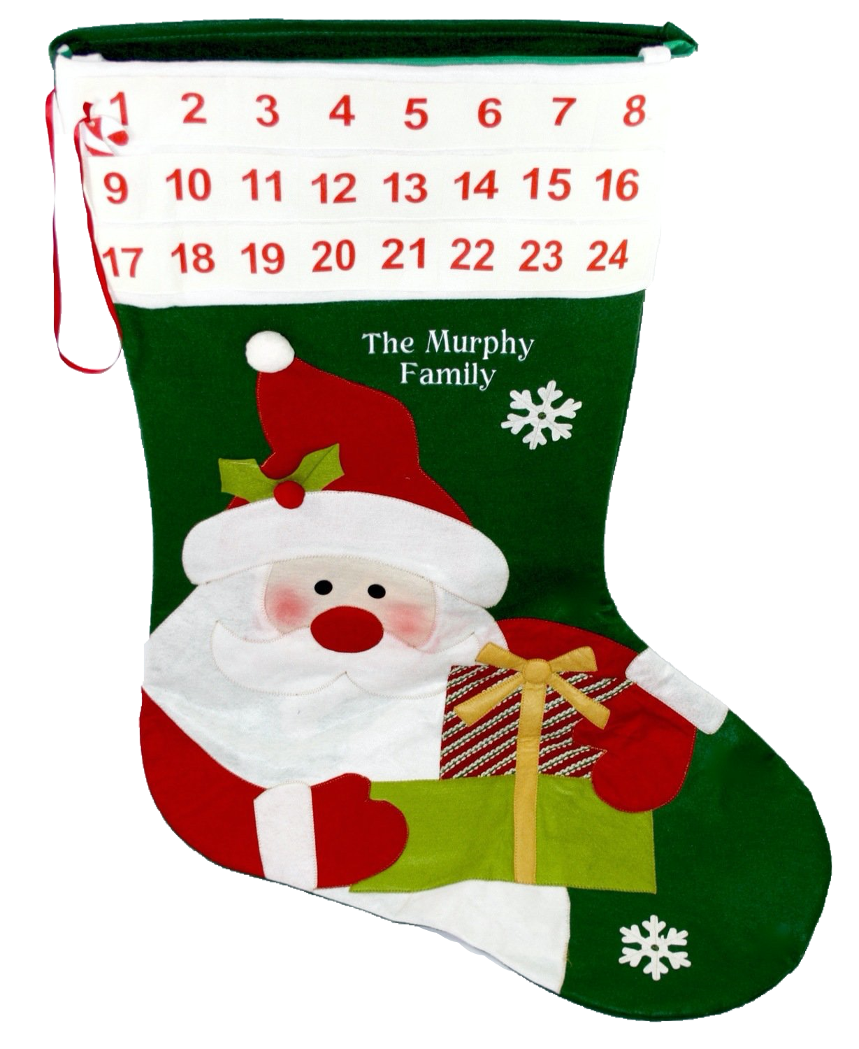 Personalised Extra Large Green stocking advent calendar