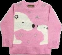 Childrens pink polar bear jumper