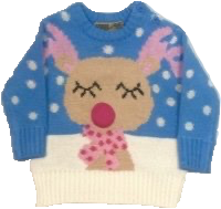 Childrens blue and pink Rudolph Christmas jumper