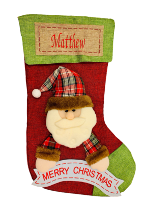 Personalised Santa Clause 3D Stocking with name patch